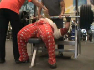 William Blackstone - doing board presses with 520 for reps in training.